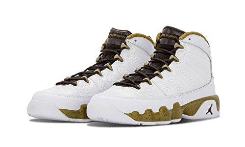 Air Jordan 9 Statue (4.5Y) US, White/Black -Militia Green (Womens Jordans Shoes Size 9)