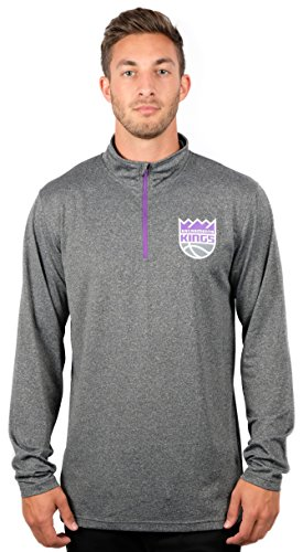 fan products of NBA Men's Sacramento Kings Quarter Zip Pullover Shirt Long Sleeve Tee, Large, Gray