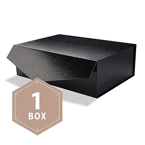 PACKHOME Large Gift Box Rectangular 14x95x45 Inches Bridesmaid Proposal Box Sturdy Storage Box Collapsible Gift Box with Magnetic Closure Glossy Black with Embossing 1 Box