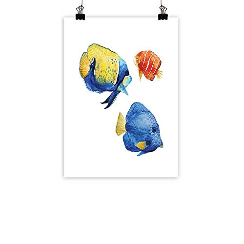 Fish Modern Frameless Painting Tropical Aquarium Life Discus Fish and Goldfish in Different Patterns Bedroom Bedside paintingAzure Blue Yellow Scarlet 20