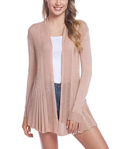 iClosam Womens Casual Long Sleeve Open Front Cardigan Sweater (#1Khaki, X-Large)