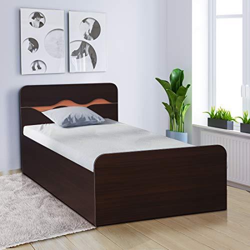 HomeTown Swirl Engineered Wood Box Storage Single Bed in Denver Oak, Urban Teak Colour