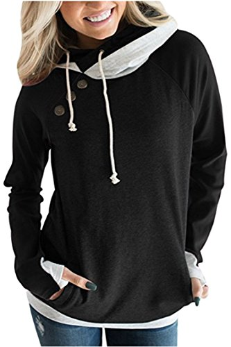 KAKALOT Womens Hoodie Sweatshirt Color Block Double Hooded Pullover Tops with Pockets Black L - Hooded Double Pockets