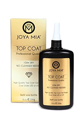 JOYA MIA Professional Top Base Coat Gel Nail Polish Long Lasting Soak Off No Cleaners Needed (8oz, Top Coat) by JOYA MIA