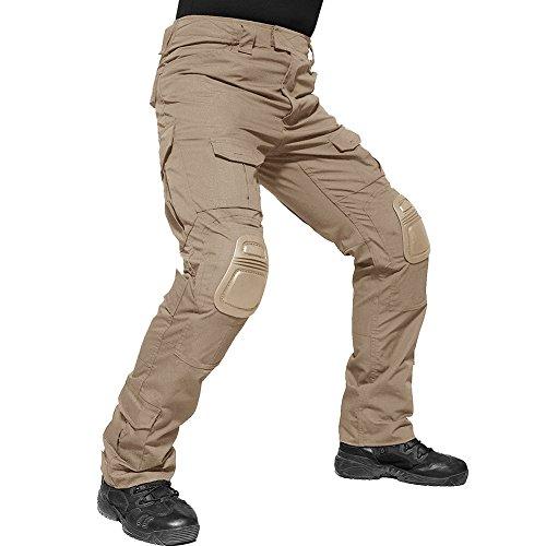 TACVASEN Men's Outdoor Active Military Cargo Camouflage Tactical Combat Pants Trousers Khaki