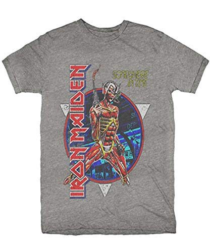Iron Maiden Somewhere Back in Time Soft Fit Grey T-Shirt (XL)