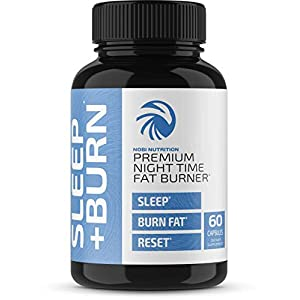 Nobi Nutrition Night Time Fat Burner, Sleep Aid an Appetite Suppressant – Stimulant-Free PM Weight Loss Pills & Metabolism Booster for Men and Women – Healthier Diet Pills – 60 Capsules