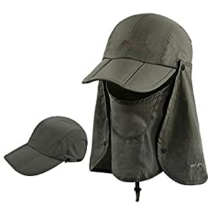 ICOLOR Folding Sun Cap,360°Protection Flap Hats,Adult UPF 50+ Flap Cap,Sun Hats,Removable Neck & Face Flap Cover for Baseball,Backpacking,Hiking,Fishing,Garden,Hunting Outdoor Activities Army Green