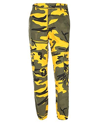 Giallo Con Donna Jeans Elasticizzati Tasconi Camouflage Casual Cargo Harlan Pantaloni HwzCwgqtx