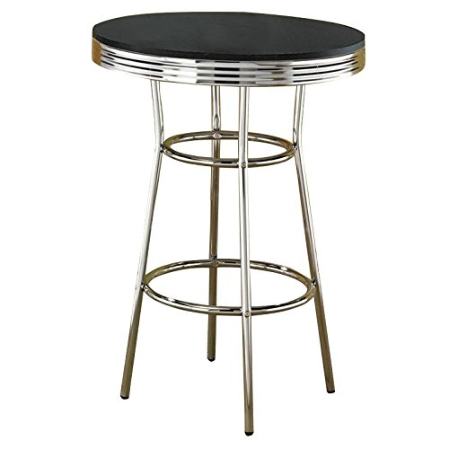 Coaster Home Furnishings 2405 Contemporary Bar Table, Silver (Round Table Bar Traditional)