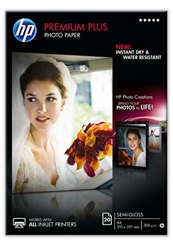 HP CR673A A4/210 x 297 mm Premium Plus Semi-Gloss Photo Paper, 300 GSM, 20 Sheets (Hp Premium Calculator)