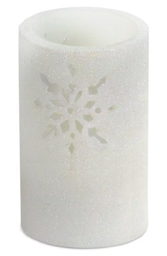 Melrose International LED Safe Flameless Glitter Candle Cutout Snowflakes 3.5x6 inches