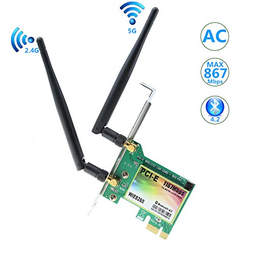 - YATENG ATENG Gigabit AC 1200Mbps Wireless Network Card with Bluetooth 4.2 WiFi Card Network Server Adapter,Dual-Band 5G/2.4G,PCI-E Wireless WI-FI Adapter Network Card for PC