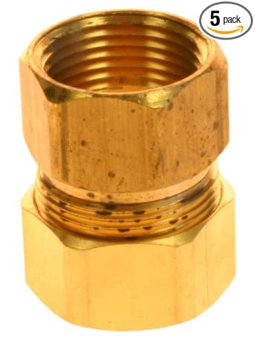 Plumbers Choice 90857 1//2-Inch by 3//4-Inch Compression by FIP Adapter 5-Pack Brass