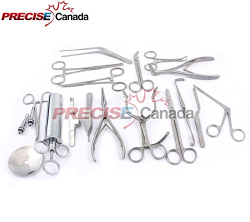 PRECISE CANADA: New Set of 16 PCS (ENT) Ear and Nose Instruments Forceps Vienna Nasal Speculum Hartman Alligator ! Ear Syringe Scissors New