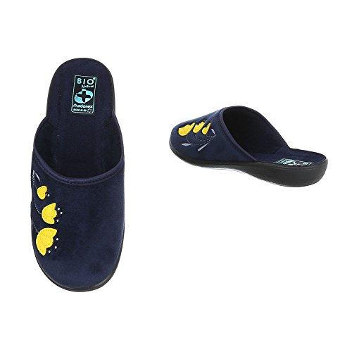 Ital-Design Hausschuhe Damenschuhe Pantoffeln Pantoffel Freizeitschuhe Dunkelblau 22356