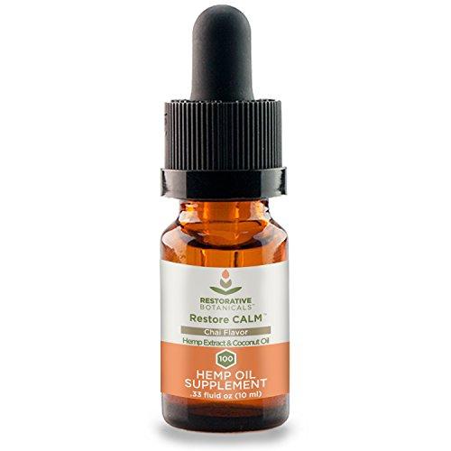 Restore Calm Hemp Oil, 100 mg Chai Flavor - 0.33 Ounce (10ml) Hemp Oil Supplement