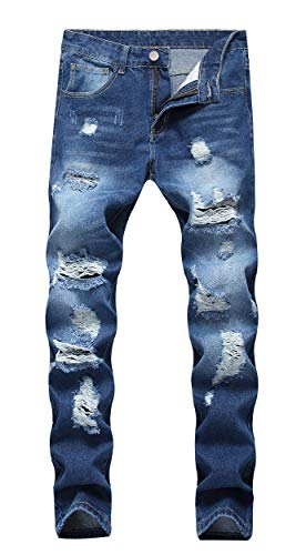 OKilr Pjik Men's Washed Stretch Distressed Slim Fit Ripped Fashiom Jeans Deep Blue