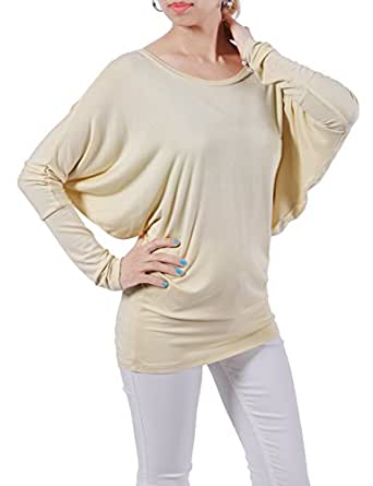 H2H Women's Dolman Long Sleeve Modal Tunic Top BEIGE US S/Asia S (CWTTL0183)