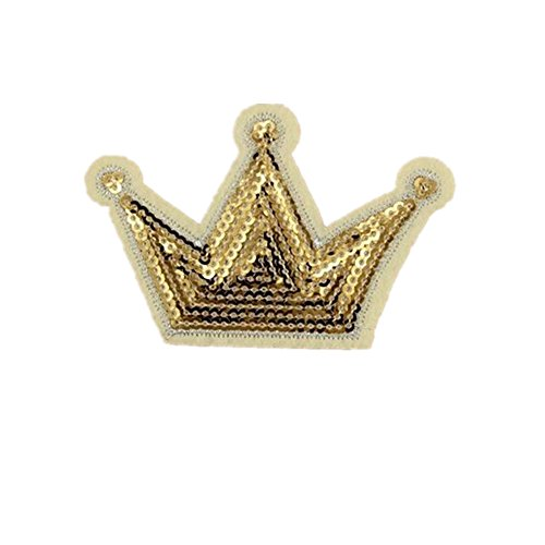 Ximkee(10 Pack)Gold Crown Sequin Sew Iron On Embroidered Patches (Crown Applique)