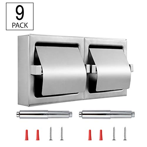Dependable Direct Pack of 9 - Horizontal Two Roll Hooded Toilet Paper Holder - Stainless Steel - Satin Finish - Surface Mount by Dependable Direct (Image #4)