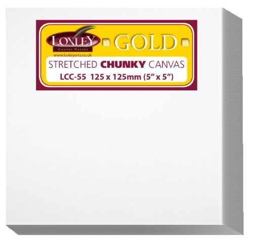 Loxley Gold 5 x 5-inch 37 mm Chunky Deep Edge Artist Quality Stretched Canvas, Small Square Primed by Loxley Gold
