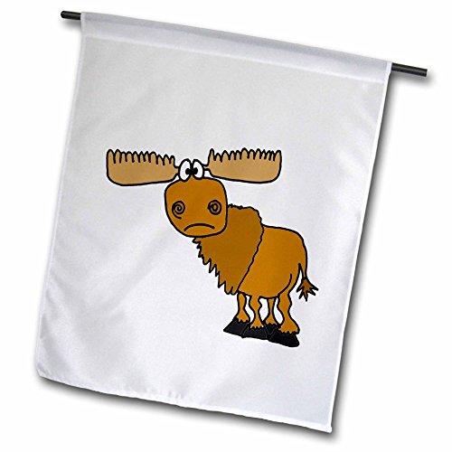 - 3dRose Funny Grumpy Moose Cartoon - Garden Flag, 12 by 18