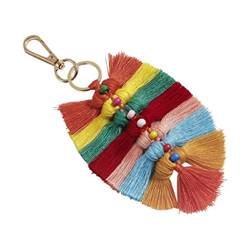 Cathy Clara Bohemian Creative Multicolor Fringed Leaves Keychain Hanging Men and Women Jewelry Gift Keychains for Women Girl Keychains