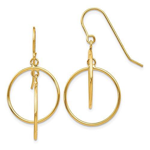 14K Yellow Gold Polished Circles Dangle Earrings