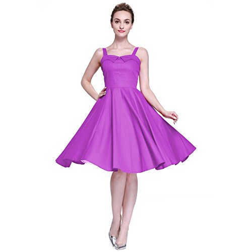 [Heroecol Womens Vintage 1950s Dresses Wrap Neck Sling Sleeveless 50s 60s Style Retro Swing Cotton Dress Size M Color] (Easy Access Costumes)