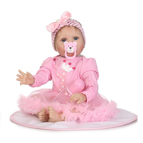 Yeefant Simulated Soft Vinyl Silicone Lifelike Newborn Baby Doll Model Children Dressing Toy Gifts For Kids Toddler Girl Living Room Bedroom Baby Playmate House Game,21.7 Inch (Newborn Doll Stroller)