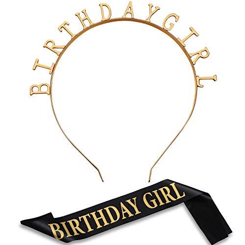 (Birthday Headpiece Girl Tiara Headband Gold Birthday Satin Sash for Party Decorations Supplies (Gold))