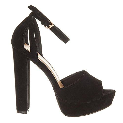 KRISTIN. Block Heel Platform Ankle Strap Sandal BLACK SUEDETTE BXEHv