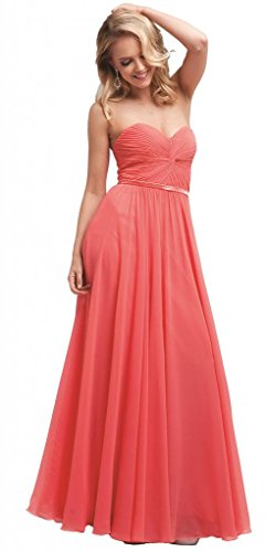 Meier Women's Strapless Sweetheart Pleated Evening Prom Dress