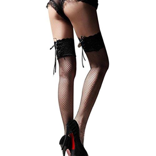 overknee strümpfe Kolylong 1 Paar Damen Lace Top Strümpfe Strumpfwaren Socken Schwarz