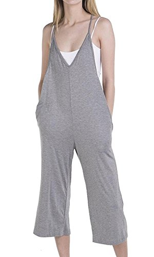 Loving PeopleSolid Spaghetti Strap V Neck Loose Fit Capri Jumpsuit, Large, Heather Gray