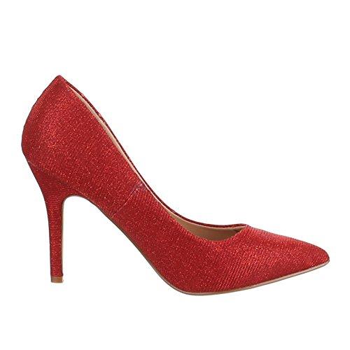 Ital-Design High Heel Damen Schuhe Geschlossen Pfennig-/Stilettoabsatz High Heels Pumps Rot