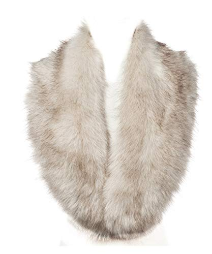 Lucky Leaf Women Winter Faux Fur Scarf Wrap Collar Shrug for Wedding Evening Party (Beige with Black Apex 1)