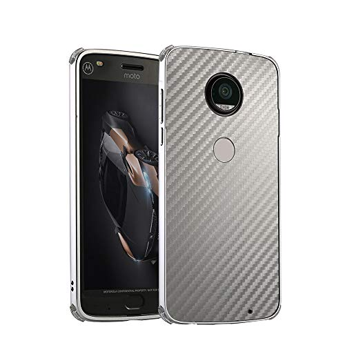 2 in 1 Moto E5 Back Cover IVY [Luxury Carbon Fiber] with Metal Frame Anti-Falling Protective Bumper Case for Motorola Moto E5/Moto G6 Play - ()
