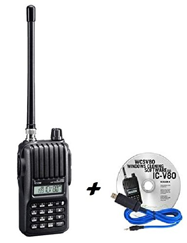 Icom V80-HD Handheld Radio and RT Systems WCSV80 USB Cable & Programming Software Bundle!