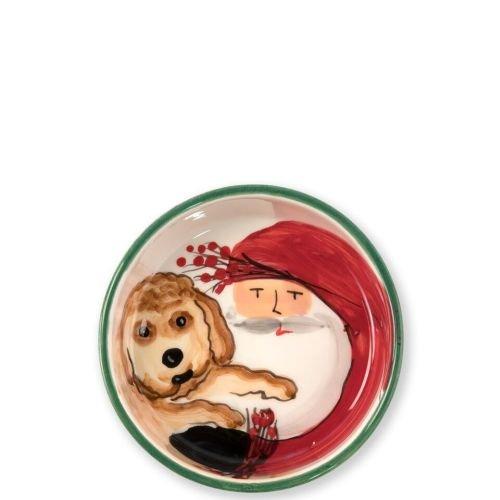 Vietri Old St. Nick Small Dog Bowl, Christmas Ceramic Feeding Bowl