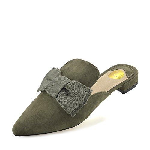 Pantofole Kick Piatta Muli Velluto a Footwear Punta Scarpe Khaki Slipper Punto Donna Casual di Giallo OFO7ra