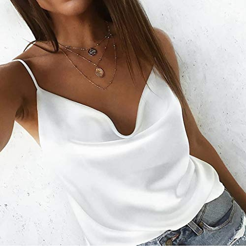 a2fecc6cac5 Dainzuy Sexy Women's Silk Tank Top Spaghetti Straps Camisole Silky Loose Sleeveless  Blouse Elegant Cowls Tank