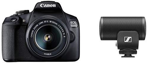 Canon EOS 1500D 24.1 Digital SLR Camera (Black) with Ef S18-55 is Ii Lens + Sennheiser Pro Audio Sennheiser MKE 200, Directional On-Camera Mic for DSLR/Mirrorless Cameras Or Mobile Devices
