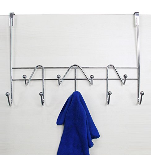 ESYLIFE Hooks Over the Door Hook Organizer Rack Hanging Towel Rack Over Door, 9 Hooks, Chrome (Towel Rack Finish)