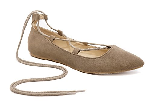Lace Up Womens Shoes - Charles Albert Ghille Lace up Pointy Toe Leg Tie Ballet Flat (10, Taupe)