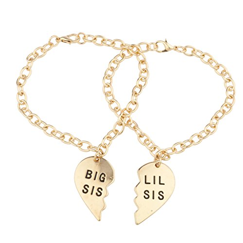 Lux Accessories Gold Big Sis Lil Sis BFF Best Friends Forever Sisters Family Matching Bracelet Set of 2 -
