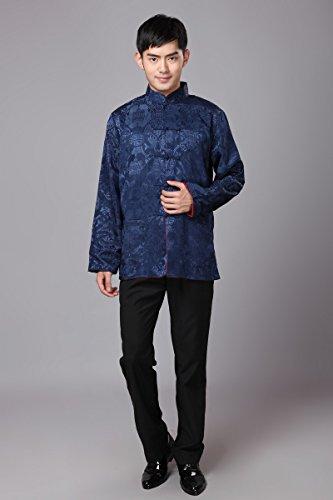 Vêtement Chemise Homme Chinois Kung fu Tang Acvip Rétro rouge Côtés Deux De Porté Veste Foncé Bleu 85wRdRq