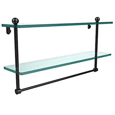 Allied Brass PR-2/22TB-ORB 22-Inch Double Shelf with Towel Bar, Oil Rubbed Bronze