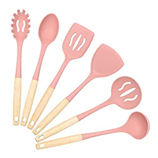 Silicone Kitchen Utensils Set, VICKITCHEN Cooking Utensil Set with Natural Wooden Handle Heat Resistance Cooking Tools for Nonstick Cookware 6 Pieces Pink